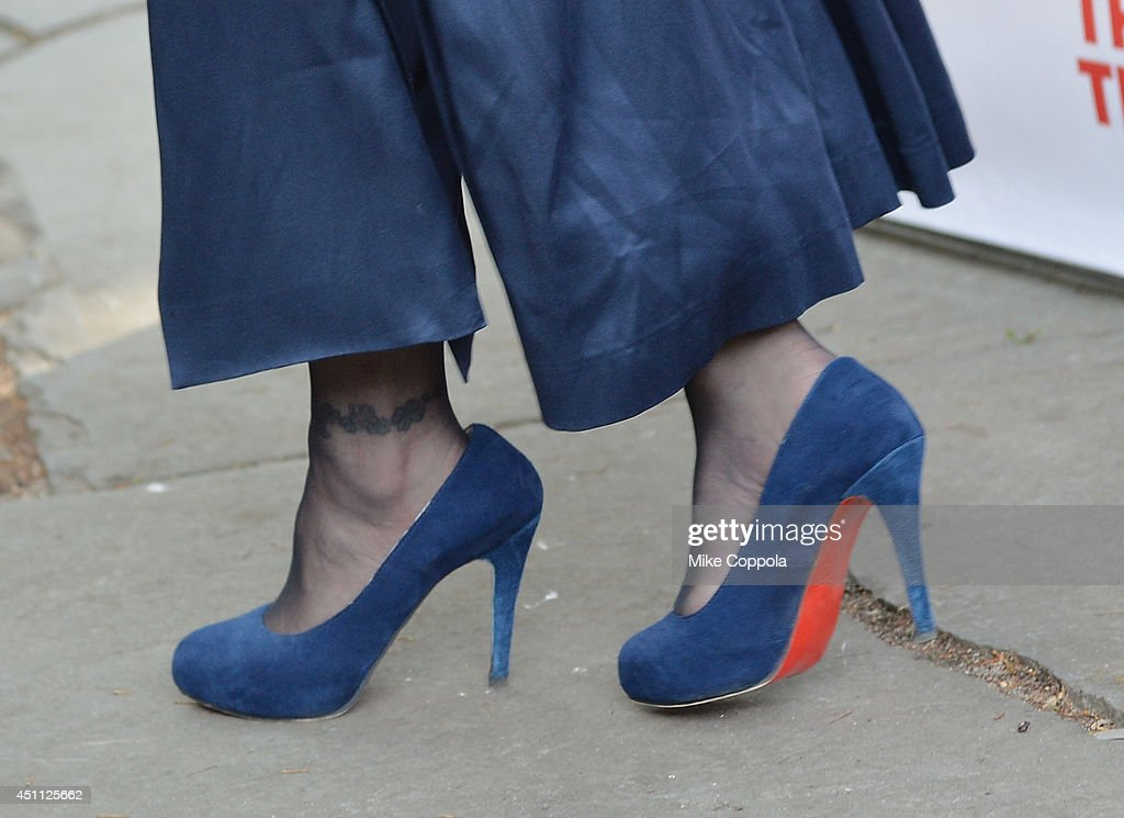 Musician/actress <a gi-track='captionPersonalityLinkClicked' href=/galleries/search?phrase=Courtney+Love&family=editorial&specificpeople=156418 ng-click='$event.stopPropagation()'>Courtney Love</a> (shoe detail) attends the Public Theater's 2014 Gala celebrating 'One Thrilling Combination' on June 23, 2014 in New York, United States.