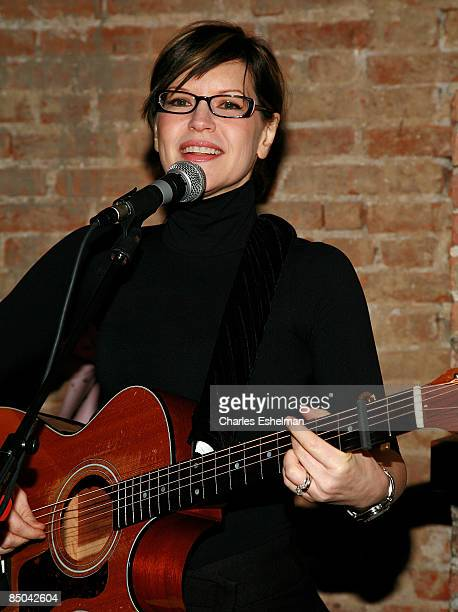 Musician/actress Lisa Loeb performs at the Kidscreen Summit cocktail reception at Little Airplane Productions on February 10 2009 in New York City