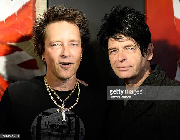 Musician/artist Billy Morrison and musician Gary Numan attend an VIP Opening Reception For 'DisEase' An Evening Of Fine Art With Billy Morrison at...