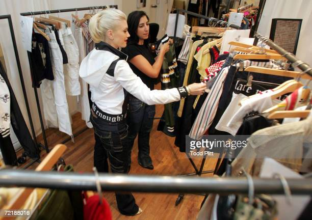 Musician/Designer Gwen Stefani prepares for her Spring 2007 fashion show that highlights her LAMB clothing line in her studio on September 10 2006 in...
