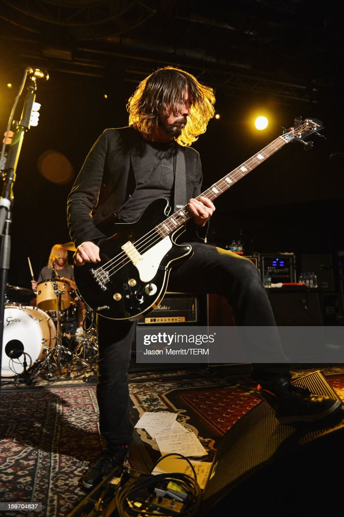 Musician/Director Dave Grohl performs onstage at the Sound City Players debut at Sundance Film Festival at Park City Live! on January 18, 2013 in Park City, Utah.