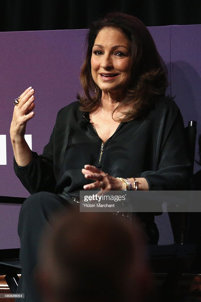 Musician<a gi-track='captionPersonalityLinkClicked' href=/galleries/search?phrase=Gloria+Estefan&family=editorial&specificpeople=201703 ng-click='$event.stopPropagation()'>Gloria Estefan</a> speaks onstage at the Get On Your Feet! panel during Advertising Week 2015 AWXII at the Hard Rock Cafe New York on September 29, 2015 in New York City.