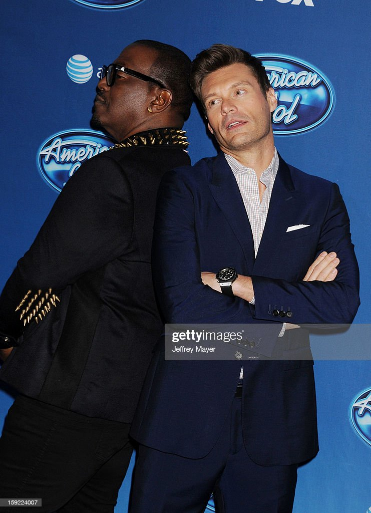 Musician/judge Randy Jackson and host <a gi-track='captionPersonalityLinkClicked' href=/galleries/search?phrase=Ryan+Seacrest&family=editorial&specificpeople=201694 ng-click='$event.stopPropagation()'>Ryan Seacrest</a> attend the FOX's 'American Idol' Season 12 Premiere at Royce Hall on the UCLA Campus on January 9, 2013 in Westwood, California.