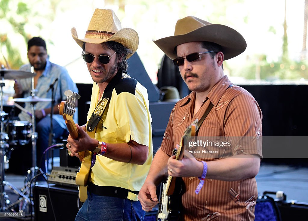 Musiciann Cameron Duddy (L) and a band member of the band Midland perform onstage during 2016 Stagecoach California's Country Music Festival at Empire Polo Club on May 01, 2016 in Indio, California.