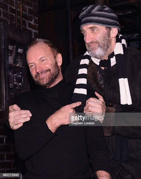 Musician/playwright Sting and singer/actor Jimmy Nail attend the curtain call at a performance of 'The Last Ship' at Neil Simon Theatre on December 9...