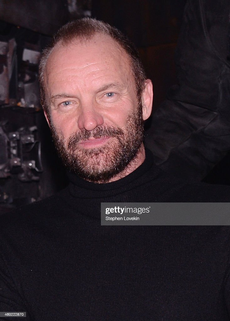 Musician/playwright <a gi-track='captionPersonalityLinkClicked' href=/galleries/search?phrase=Sting&family=editorial&specificpeople=220192 ng-click='$event.stopPropagation()'>Sting</a> attends the curtain call at a performance of 'The Last Ship' at Neil Simon Theatre on December 9, 2014 in New York City.