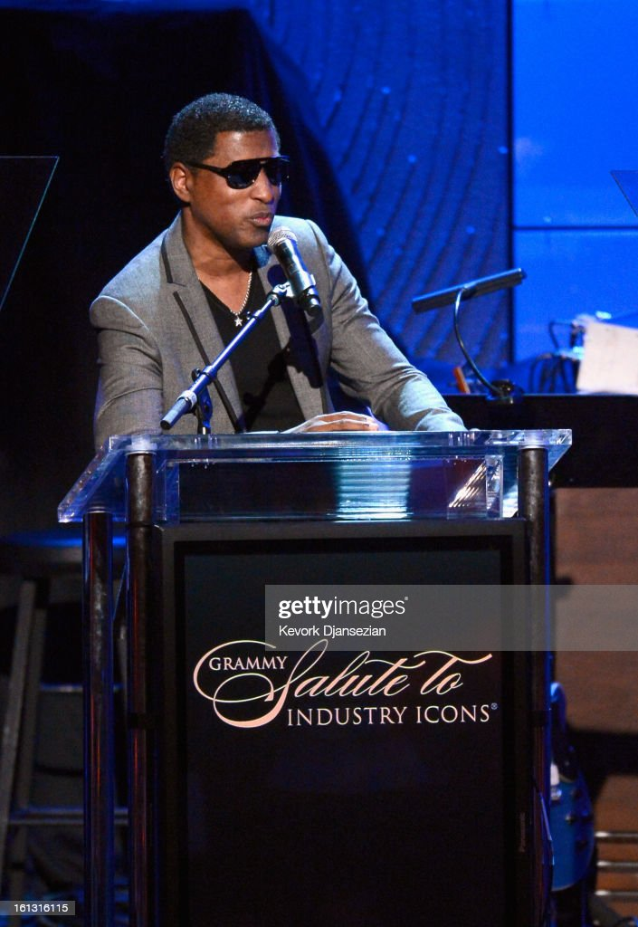 Musician/producer Kenneth '<a gi-track='captionPersonalityLinkClicked' href=/galleries/search?phrase=Babyface&family=editorial&specificpeople=227435 ng-click='$event.stopPropagation()'>Babyface</a>' Edmonds onstage at Clive Davis & The Recording Academy's 2013 Pre-GRAMMY Gala and Salute to Industry Icons honoring Antonio 'L.A.' Reid at The Beverly Hilton Hotel on February 9, 2013 in Beverly Hills, California.