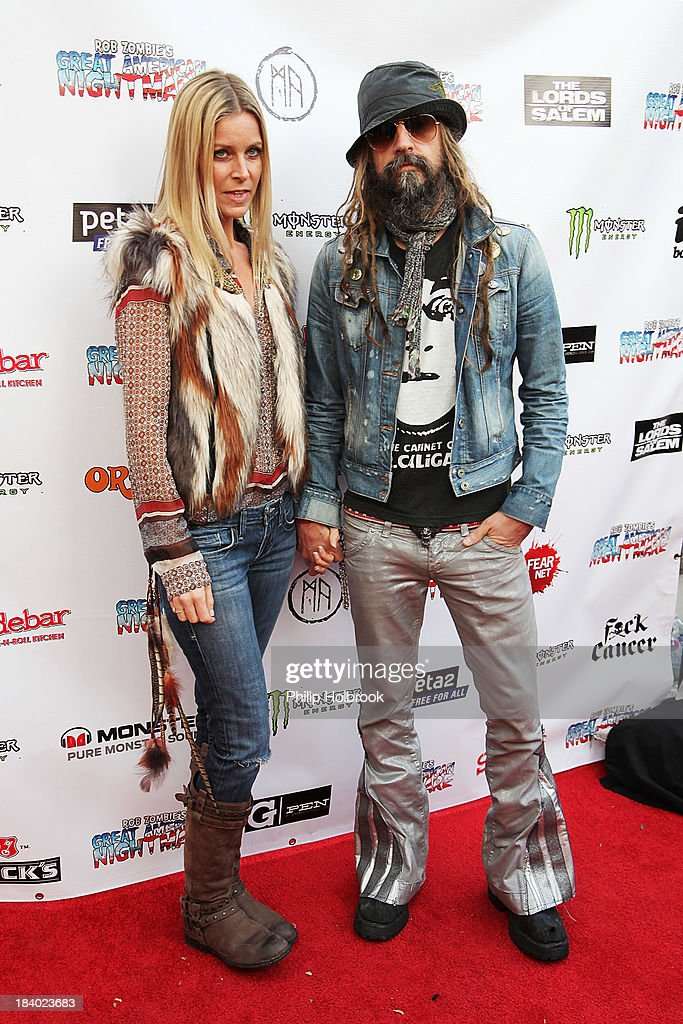 Musician/Producer/Director <a gi-track='captionPersonalityLinkClicked' href=/galleries/search?phrase=Rob+Zombie&family=editorial&specificpeople=217722 ng-click='$event.stopPropagation()'>Rob Zombie</a> and actress <a gi-track='captionPersonalityLinkClicked' href=/galleries/search?phrase=Sheri+Moon&family=editorial&specificpeople=2360728 ng-click='$event.stopPropagation()'>Sheri Moon</a> Zombie arrive at the VIP opening night party at <a gi-track='captionPersonalityLinkClicked' href=/galleries/search?phrase=Rob+Zombie&family=editorial&specificpeople=217722 ng-click='$event.stopPropagation()'>Rob Zombie</a>'s Great American Nightmare held at the Fairplex on October 10, 2013 in Pomona, California