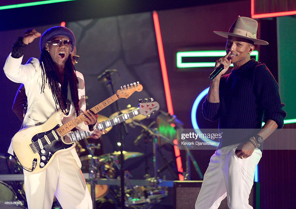 Musician-producers <a gi-track='captionPersonalityLinkClicked' href=/galleries/search?phrase=Nile+Rodgers&family=editorial&specificpeople=217582 ng-click='$event.stopPropagation()'>Nile Rodgers</a> (L) and <a gi-track='captionPersonalityLinkClicked' href=/galleries/search?phrase=Pharrell+Williams&family=editorial&specificpeople=161396 ng-click='$event.stopPropagation()'>Pharrell Williams</a> perform onstage during the 56th GRAMMY Awards at Staples Center on January 26, 2014 in Los Angeles, California.