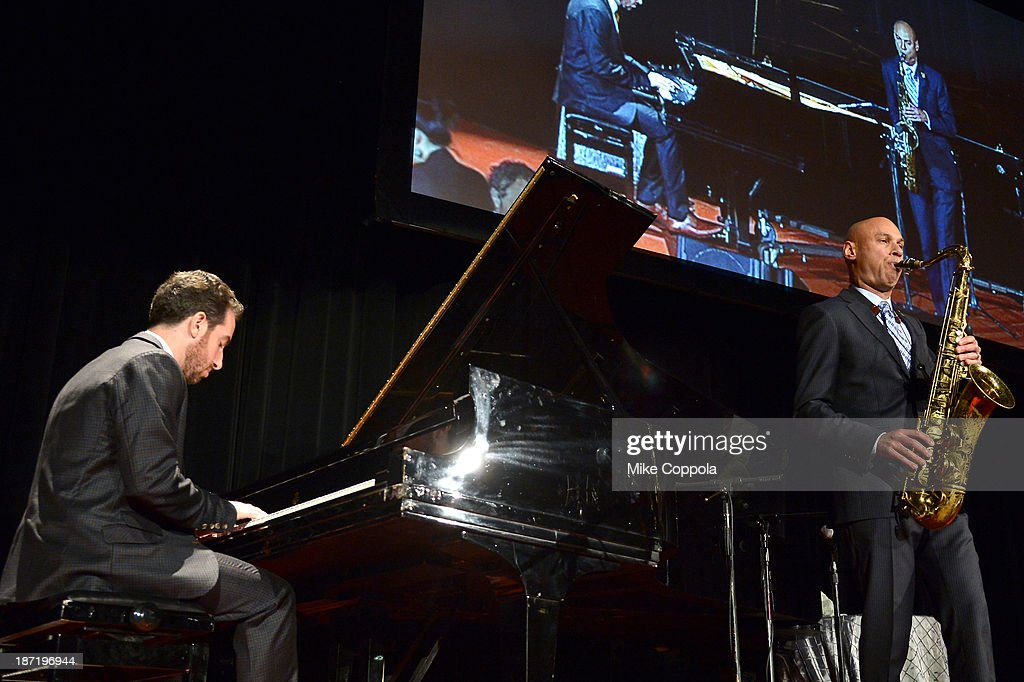 Musicians Aaron Goldberg and <a gi-track='captionPersonalityLinkClicked' href=/galleries/search?phrase=Joshua+Redman&family=editorial&specificpeople=1153320 ng-click='$event.stopPropagation()'>Joshua Redman</a> perform onstage at the Annual Freedom Award Benefit hosted by the International Rescue Committee at the Waldorf-Astoria hotel on November 6, 2013 in New York City.