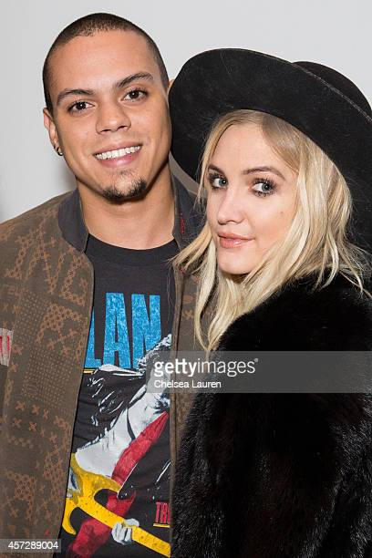 Musicians / actors Evan Ross and Ashlee Simpson attend the Anine Bing flagship store opening at Anine Bing Boutique on October 15 2014 in Los Angeles...