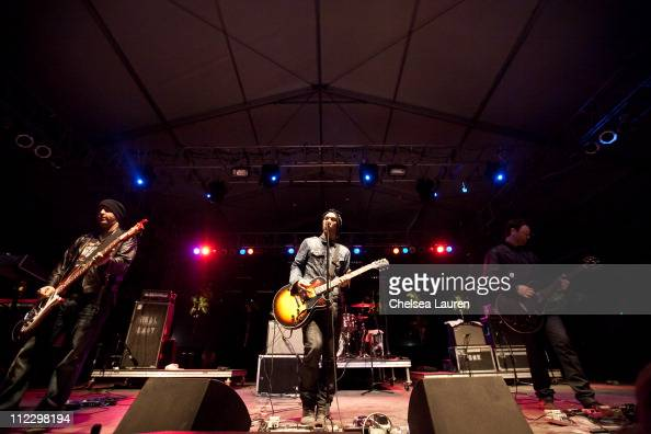 Musicians Adam Bravin aka Adam 12 and Justin Warfield of She Wants Revenge perform at day 3 of the 2011 Coachella Valley Music Arts Festival at The...