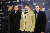 Musicians Adam Clayton Bono The Edge and Larry Mullen Jr of U2 attend 'U2 3D' premiere during 2008 Sundance Film Festival at Eccles Theatre on...