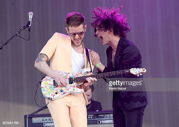 Musicians Adam Hann and Matthew Healy of The 1975 perform onstage during day 3 of the 2016 Coachella Valley Music And Arts Festival Weekend 1 at the...