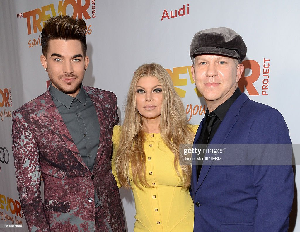 Musicians <a gi-track='captionPersonalityLinkClicked' href=/galleries/search?phrase=Adam+Lambert&family=editorial&specificpeople=5706674 ng-click='$event.stopPropagation()'>Adam Lambert</a>, Fergie and, screenwriter Ryan Murphy attend 'TrevorLIVE LA' honoring Jane Lynch and Toyota for the Trevor Project at Hollywood Palladium on December 8, 2013 in Hollywood, California.