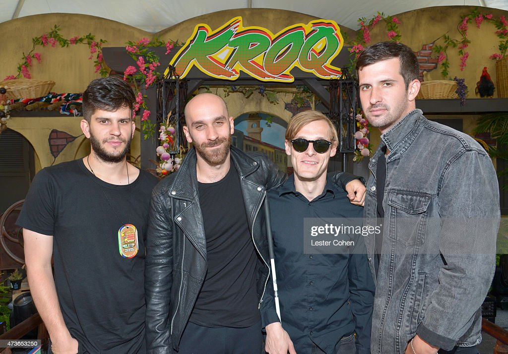 Musicians Adam Levin Sam Harris Casey Harris and Noah Feldshuh of X Ambassadors backstage at KROQ Weenie Roast Y Fiesta 2015 at Irvine Meadows...