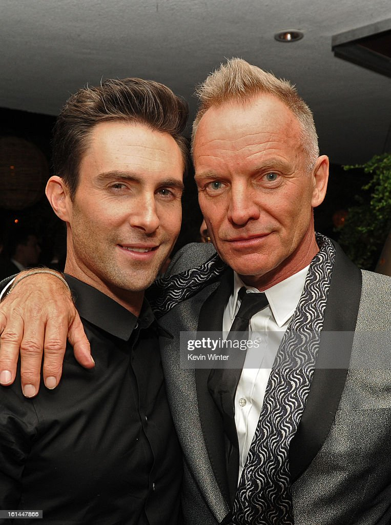 Musicians <a gi-track='captionPersonalityLinkClicked' href=/galleries/search?phrase=Adam+Levine+-+Singer&family=editorial&specificpeople=202962 ng-click='$event.stopPropagation()'>Adam Levine</a> and Sting attend the Maroon 5 Grammy After Party & <a gi-track='captionPersonalityLinkClicked' href=/galleries/search?phrase=Adam+Levine+-+Singer&family=editorial&specificpeople=202962 ng-click='$event.stopPropagation()'>Adam Levine</a> Fragrance Launch Event on February 10, 2013 in West Hollywood, California.