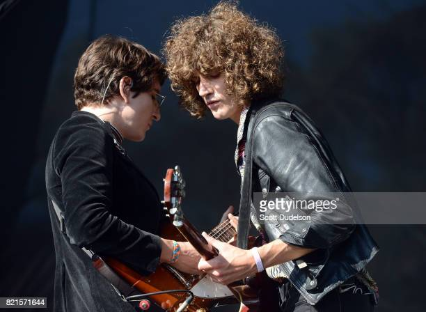 Musicians Adam Smith and James Bagshaw of the band Temples perform onstage during FYF Fest on July 23 2017 in Los Angeles California