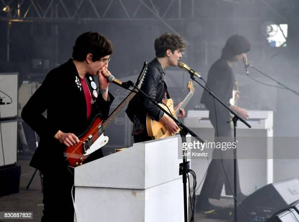 Musicians Adam Smith James Bagshaw and Thomas Warmsley perform on Lands End stage during the 2017 Outside Lands Music And Arts Festival at Golden...