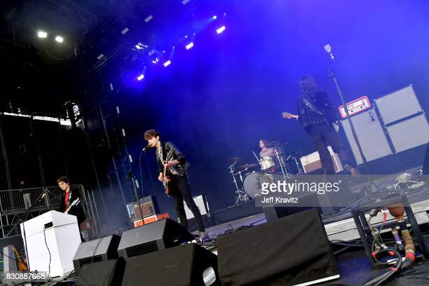 Musicians Adam Smith James Bagshaw Sam Toms and Thomas Warmsley of Temples perform on Lands End stage during the 2017 Outside Lands Music And Arts...