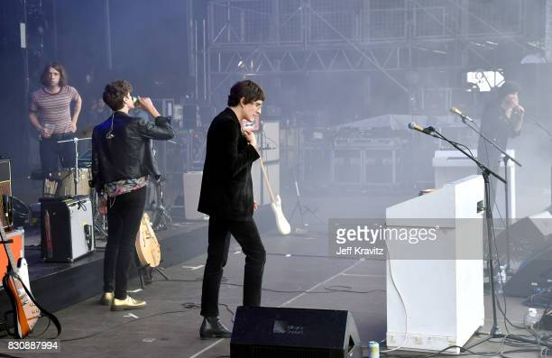 Musicians Adam Smith Sam Toms James Bagshaw and Thomas Warmsley perform on Lands End stage during the 2017 Outside Lands Music And Arts Festival at...