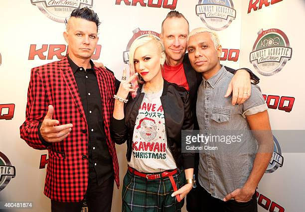 Musicians Adrian Young Gwen Stefani Tom Dumont Tony Ashwin Kanal of No Doubt attend day two of the 25th annual KROQ Almost Acoustic Christmas at The...
