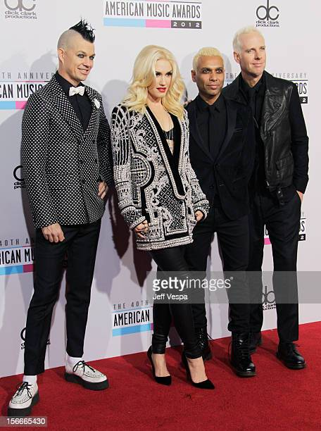 Musicians Adrian Young Gwen Stefani Tony Kanal and Tom Dumant of No Doubt attend the 40th Anniversary American Music Awards held at Nokia Theatre LA...