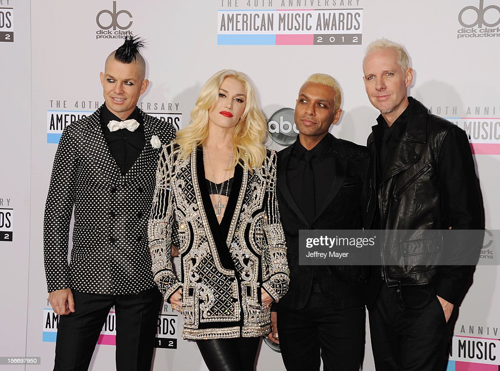 Musicians Adrian Young, Gwen Stefani, Tony Kanal and Tom Dumant of No Doubt attend the 40th Anniversary American Music Awards held at Nokia Theatre L.A. Live on November 18, 2012 in Los Angeles, California.