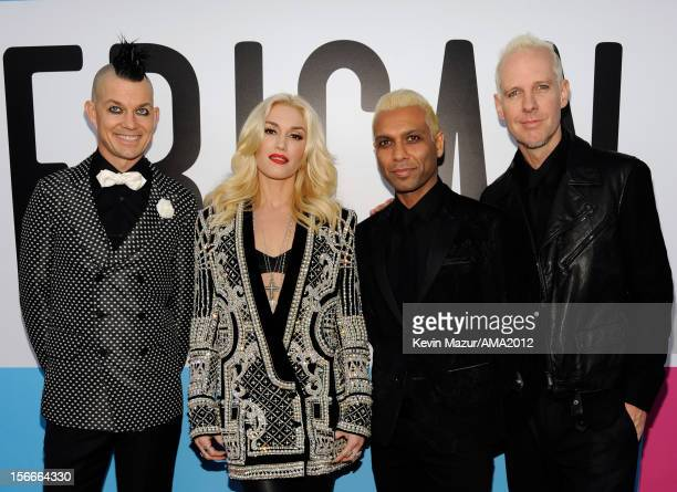 Musicians Adrian Young Gwen Stefani Tony Kanal and Tom Dumont of No Doubt attend the 40th American Music Awards held at Nokia Theatre LA Live on...