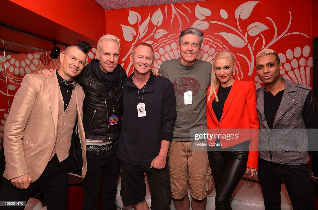 Musicians Adrian Young, Tom Dumont, KROQ DJ's Kevin Ryder, Gene 'Bean' Baxter, musicians Gwen Stefani, and Tony Kanal attend KROQ's Acoustic Christmas - Night 2 at Gibson Amphitheatre on December 9, 2012 in Universal City, California.
