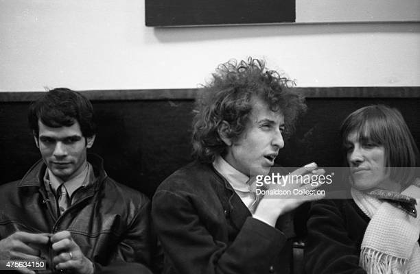 Musicians Al Kooper Bob Dylan and Doug Sahm pose for a portrait in 1966