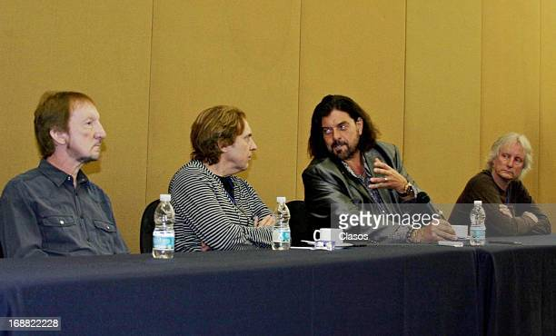 Musicians Alan Parsons Mik Kaminski and Eric Troyer of Electric Light Orchestra during a press conference prior to their presentation on May 14 2013...