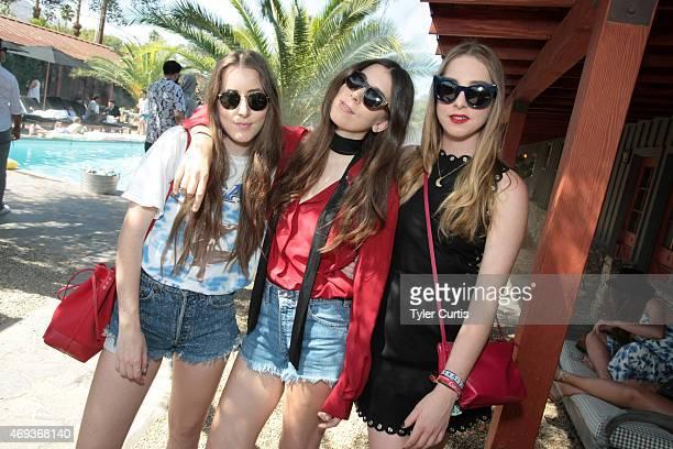 Musicians Alana Haim Danielle Haim and Este Haim attend The Retreat At The Sparrows Lodge on April 11 2015 in Palm Springs California