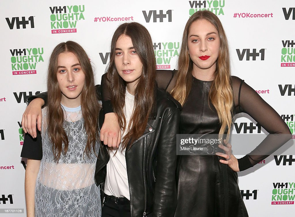 Musicians <a gi-track='captionPersonalityLinkClicked' href=/galleries/search?phrase=Alana+Haim&family=editorial&specificpeople=9431818 ng-click='$event.stopPropagation()'>Alana Haim</a>, <a gi-track='captionPersonalityLinkClicked' href=/galleries/search?phrase=Danielle+Haim&family=editorial&specificpeople=2499485 ng-click='$event.stopPropagation()'>Danielle Haim</a> and <a gi-track='captionPersonalityLinkClicked' href=/galleries/search?phrase=Este+Haim&family=editorial&specificpeople=2499486 ng-click='$event.stopPropagation()'>Este Haim</a> of Haim attend VH1 'You Oughta Know In Concert' 2013 on November 11, 2013 at Roseland Ballroom in New York City.