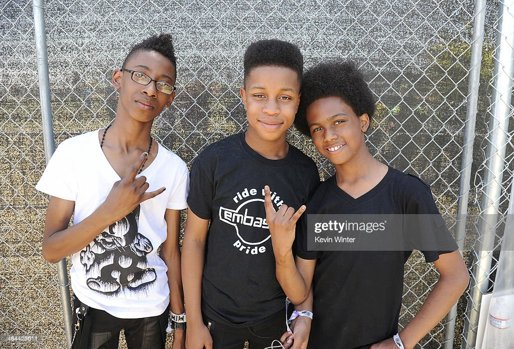Musicians Alec Atkins, Jarad Dawkins and Malcolm Brickhouse of Unlocking the Truth pose onstage during day 2 of the 2014 Coachella Valley Music & Arts Festival at the Empire Polo Club on April 12, 2014 in Indio, California.