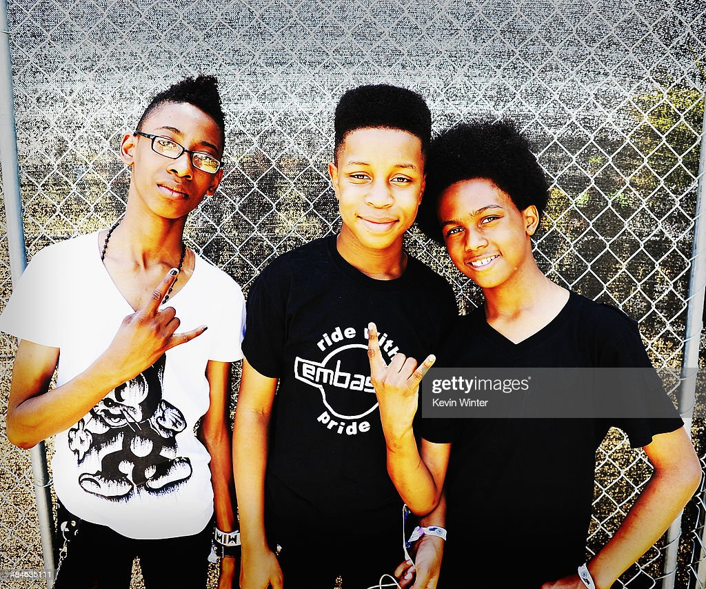 Musicians Alec Atkins Jarad Dawkins and Malcolm Brickhouse of Unlocking the Truth pose onstage during day 2 of the 2014 Coachella Valley Music Arts...