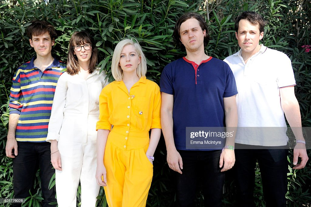 Musicians Alec O'Hanley, Kerri MacLellan, Molly Rankin, Phil MacIsaac and Brian Murphy of Alvvays pose backstage during day 2 of the 2016 Coachella Valley Music & Arts Festival Weekend 1 at the Empire Polo Club on April 16, 2016 in Indio, California.
