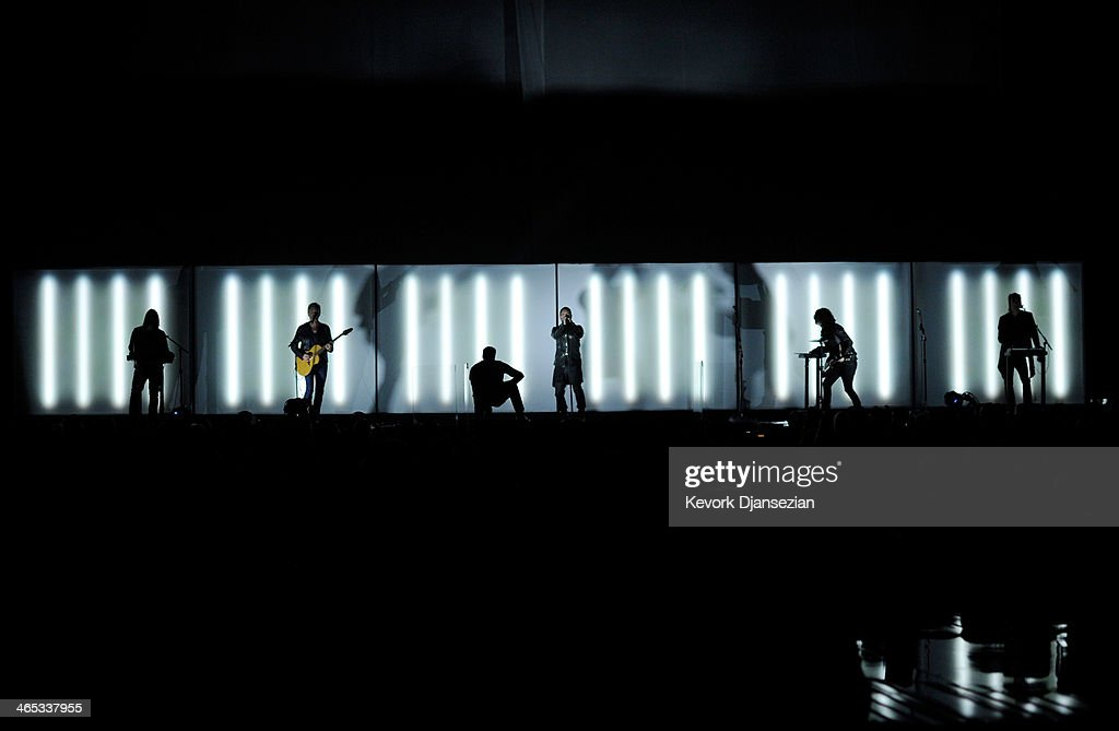 Musicians Alessandro Cortini, Lindsey Buckingham (of Fleetwood Mac), Trent Reznor, Ilan Rubin and Robin Fink of Nine Inch Nails perform onstage during the 56th GRAMMY Awards at Staples Center on January 26, 2014 in Los Angeles, California.