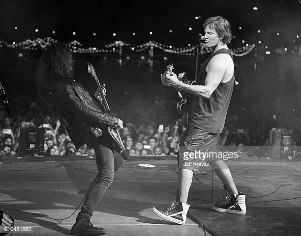 Musicians Alex LeCavalier and Stephan Jenkins of Third Eye Blind perform onstage during day 3 of the 2016 Life Is Beautiful festival on September 25...