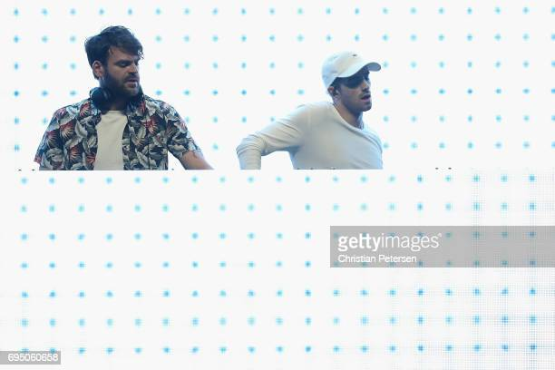 Musicians Alex Pall and Andrew Taggart of The Chainsmokers perform during the Bethesda E3 conference at the LA Center Studios on June 11 2017 in Los...