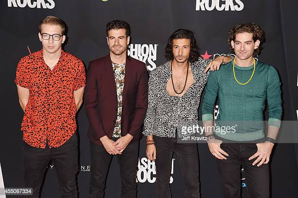 Musicians Alex Tanas Mark Pellizzer Nasri Atweh and Ben Spivak from the band MAGIC attend Fashion Rocks 2014 at the Barclays Center on September 9...