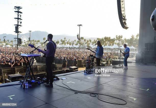 Musicians Alex Trimble Sam Halliday Kevin Baird and Ben Thompson of Two Door Cinema Club perform on the Coachella Stage during day 2 of the Coachella...