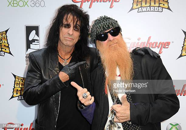 Musicians Alice Cooper and Billy Gibbons arrive at the 2012 Revolver Golden Gods Award Show at Club Nokia on April 11 2012 in Los Angeles California