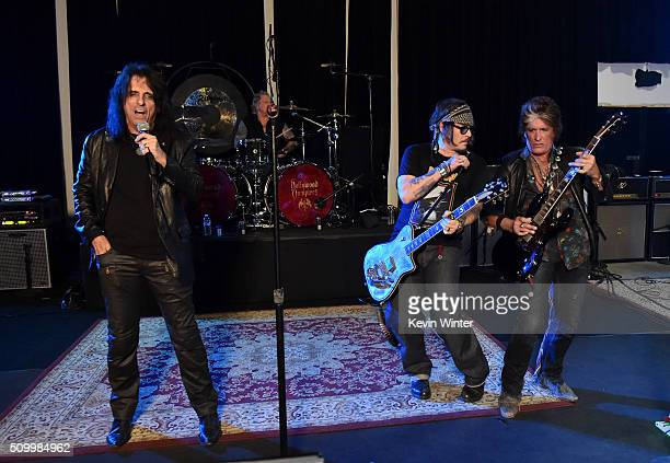 Musicians Alice Cooper Matt Sorum Johnny Depp and Joe Perry of the Hollywood Vampires rehearse for the 58th GRAMMY Awards on February 11 2016 in Los...