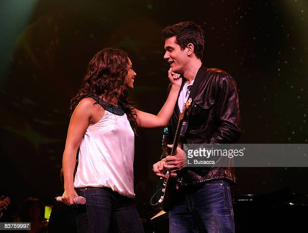 Musicians Alicia Keys and John Mayer perform during the Grand Opening Weekend Celebration at MGM Grand at Foxwoods Resort Casino on May 17 2008 in...
