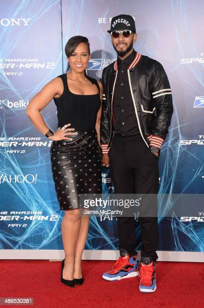 Musicians Alicia Keys and Swizz Beatz attends 'The Amazing SpiderMan 2' premiere at the Ziegfeld Theater on April 24 2014 in New York City