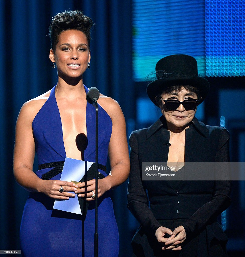 Musicians Alicia Keys (L) and Yoko Ono speak onstage during the 56th GRAMMY Awards at Staples Center on January 26, 2014 in Los Angeles, California.
