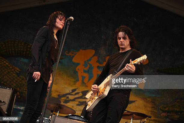 Musicians Alison Mosshart and Jack White of the Dead Weather perform during day 7 of the 41st annual New Orleans Jazz Heritage Festival at the Fair...