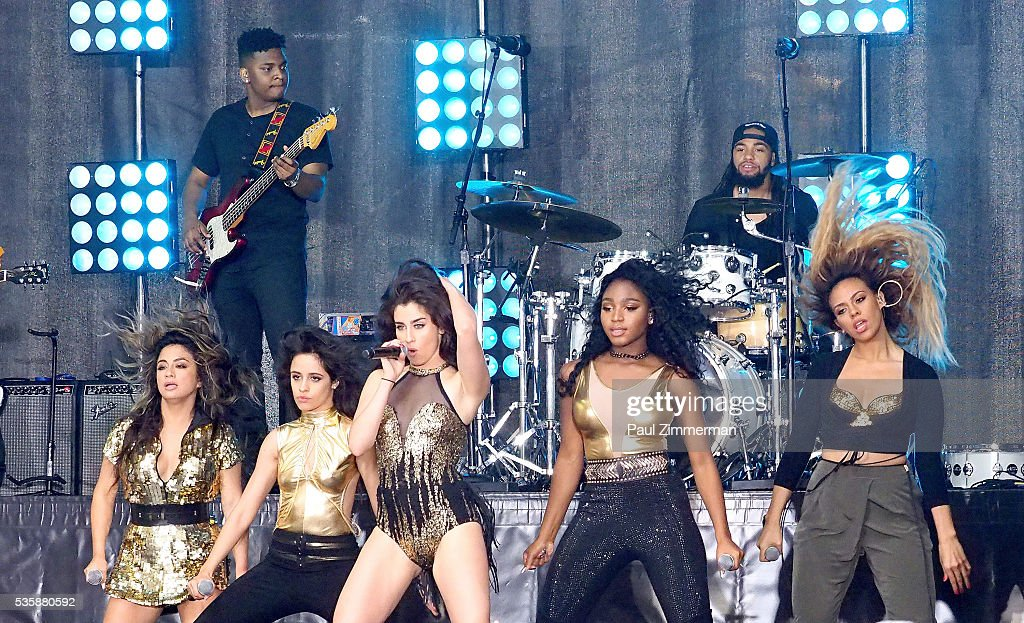 Musicians <a gi-track='captionPersonalityLinkClicked' href=/galleries/search?phrase=Ally+Brooke&family=editorial&specificpeople=9748330 ng-click='$event.stopPropagation()'>Ally Brooke</a>, <a gi-track='captionPersonalityLinkClicked' href=/galleries/search?phrase=Camila+Cabello&family=editorial&specificpeople=9951839 ng-click='$event.stopPropagation()'>Camila Cabello</a>, <a gi-track='captionPersonalityLinkClicked' href=/galleries/search?phrase=Lauren+Jauregui&family=editorial&specificpeople=9766444 ng-click='$event.stopPropagation()'>Lauren Jauregui</a>, Normani Hamilton and Dinah-Jane Hansen of band Fifth Harmony perform on On NBC's 'Today' Rockefeller Plaza on May 30, 2016 in New York City.