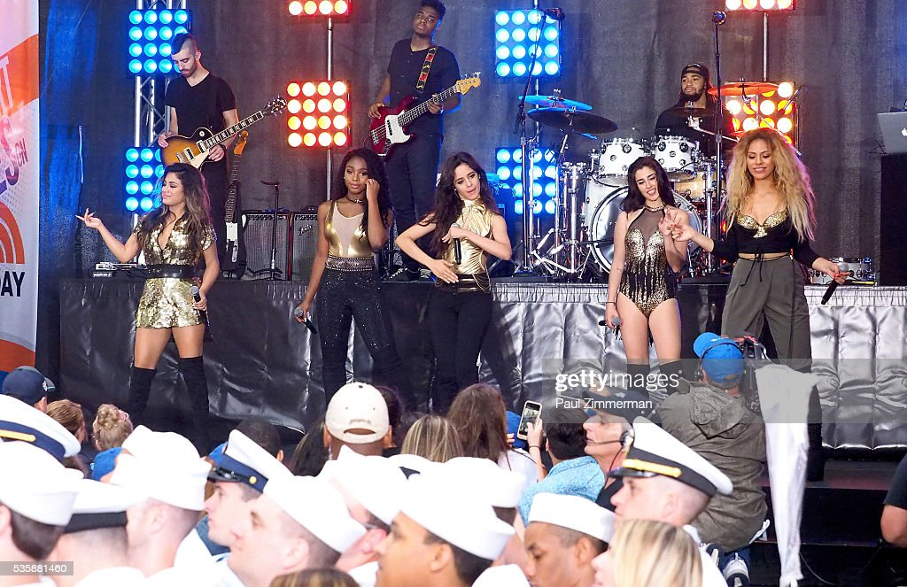 Musicians <a gi-track='captionPersonalityLinkClicked' href=/galleries/search?phrase=Ally+Brooke&family=editorial&specificpeople=9748330 ng-click='$event.stopPropagation()'>Ally Brooke</a>, Normani Hamilton, <a gi-track='captionPersonalityLinkClicked' href=/galleries/search?phrase=Camila+Cabello&family=editorial&specificpeople=9951839 ng-click='$event.stopPropagation()'>Camila Cabello</a>, <a gi-track='captionPersonalityLinkClicked' href=/galleries/search?phrase=Lauren+Jauregui&family=editorial&specificpeople=9766444 ng-click='$event.stopPropagation()'>Lauren Jauregui</a> and Dinah-Jane Hansen of band Fifth Harmony perform on On NBC's 'Today' Rockefeller Plaza on May 30, 2016 in New York City.